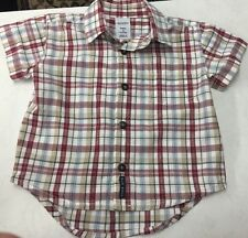 Old Navy Baby Boys 6-12 Mo Plaid Preppy Button Down Camp Shirt Fall Colors
