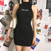 Chic Killer Letters Casual Goth Women Black Dress Sleeveless Mini Dresses S M L