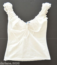 Juniors Topia White Casual Elastic Top Bow Tie Neck Sleeveless Shirt