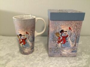 NEW in Box Cypress Refresh Ceramic Travel Cup Mug 17 oz SNOWMAN Winter