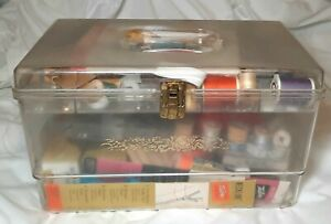 Vintage Plastic Sewing Box Full. Thread, Needles,  Buttons, Patterns, Pins +More
