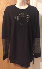 Versace Medusa Mesh Insert Fleece Lined Oversized Top Sweatshirt UK 10/IT 3 £310