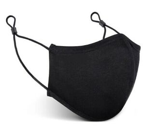 Reusable Face Covering With Adjustable Ear Loops Black