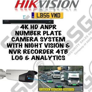 4K HD ANPR Number Plate Recognition Camera System Night Vision +NVR Recorder 4TB