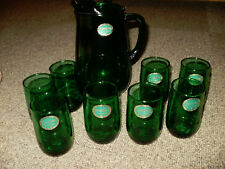 VINTAGE ANCHOR GLASS FOREST GREEN PITCHER AND 8 GLASSES GREAT JUICE SETTING !!