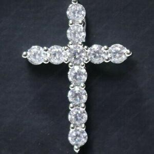 Certified 3.30 Ct Round Cut DVVS1 Moissanite Cross Pendant 14K White Gold Plated