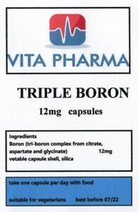 TRIPLE BORON 12mg 120 capsules SUPPORT STRONG BONES, TESTOSTERONE