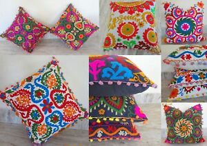 Ethnic Suzani Cushion Cover 16x16 Vintage Embroidered Cotton 10 Pcs Pillow Cases