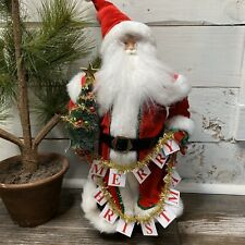 "Santa Claus Holding a ""Merry Christmas"" Banner Figure 16"" Tall Tabletop Decor"
