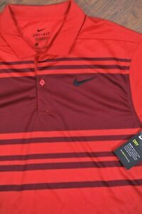 NWT Nike Dri-Fit Essential Performance Golf Polo Shirt Red Stripe Men's Medium M
