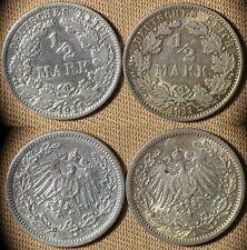 Germany Emp : Lot 2 Coins 1/2  Mk 1911A + 1911F   XF  #17  IR1707
