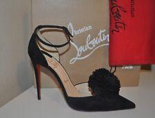 NIB Christian Louboutin Tsarou Pom 100 Ankle Strap Pump Heel Shoe Black Suede 41