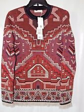 TORY BURCH RED Tapestry Jacquard Fringe EMBELLISHED Sweater Runway - S NWT $695