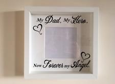 IKEA RIBBA Box Frame Personalised Vinyl Wall Art Quote My Dad. My Hero, My Angel