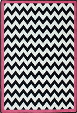 Milliken Black & White Area Rugs - Contemporary Pink Bordered Chevron Zig Zag Stripes Rug