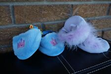 Build A Bear Shoes Set Lot Pairs Blue Crown Princess Slippers Purple Feather Boa