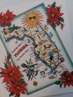 Vtg 1940-50s FLORIDA State MAP Tichnor Fun Graphics CHRISTMAS GREETING CARD