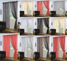 VOILE NET SLOT TOP ROD POCKET TAB TOP EYELET CURTAIN PANEL WITH TIE BACK
