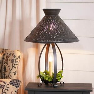 Irvin's BETSY ROSS COLONIAL TABLE LAMP Pierced Chisel Pattern Shade Kettle Black