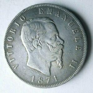 1871 ITALY 5 LIRE - AU/UNC - Excellent Silver Crown Coin - Lot #L24