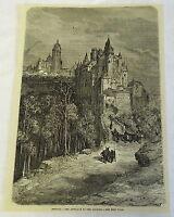 1882 magazine engraving ~ SEGOVIA, THE APPROACH TO THE ALCAZAR