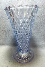 "Vintage Indiana Glass Vase, Regal Blue, Diamond Point, 8"" tall, 3-piece mold"