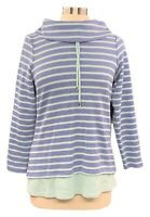 DENIM&CO Size PS Blue Striped Thermal Waffle Weave Long Sleeve Cowl Neck Top