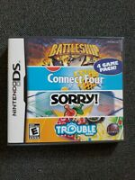 Nintendo DS 4 Game PACK 2006 Battleship, Connect Four, Sorry, Trouble COMPLETE