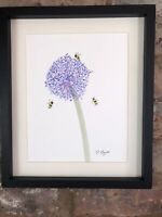 Purple Allium With Bumble Bee Original Watercolour Painting, Original Signed Art