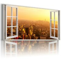 NEW YORK CITY BY NIGHT HOLIDAY 3D Window Canvas Wall Art Picture Large W378