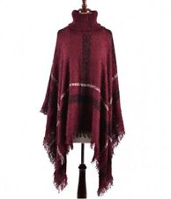 Dark Burgundy and Multi Colored Turtleneck Poncho