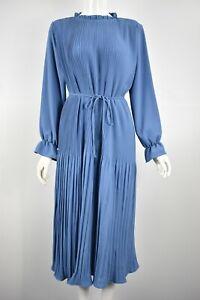 Women's Girls Long Flute Sleeve Plain Pleated Smock Midi Dress Blue Beige Black