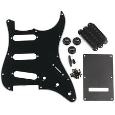 Strat Pickguard, Back Plate, Pickup Covers, Knobs, Tips, 3 Ply Black New