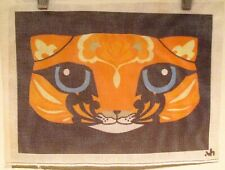 Stylized ORANGE CAT Painted Needlepoint Canvas