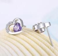 Heart Earrings Amethyst Silver Sterling Gold Stud 925 Purple Dangle 1 Jewelry