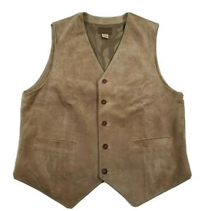 Pendleton Men's Large Brown Tan Suede Button Up Front Vest EUC