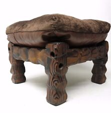 Vtg 1970's Torched Burnt Wood Chunky Carved Overstuffed Top Ottoman Footstool