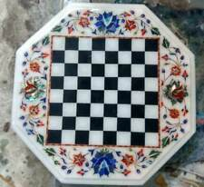 """15"""" white marble chess table top inlay lapis malachite room kids game"""