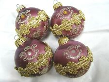 4 Lg Vintage West Germany Glass Christmas Ornaments Mauve Purple Glitter Jeweled