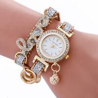 Women Luxury Bracelet Lady Wrist Watch Stainless Quartz Analog Leather Watches