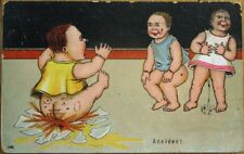 Pee/Poo Pot Crashes in 'Accident' 1914 Color Litho Postcard