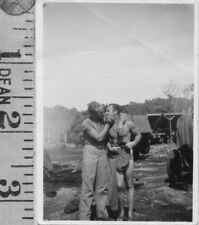 ORIG Vintage WWII affectionate Handsome Soldiers Kiss men Gay interest photo