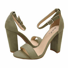 Women's Shoes Qupid CASHMERE 01 Open Toe Ankle Strap Heels KHAKI
