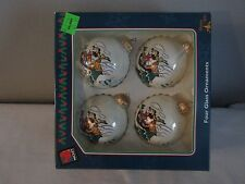 Set of 4 Vintage Disney Mickey Unlimited Glass Christmas Ornaments Krebs