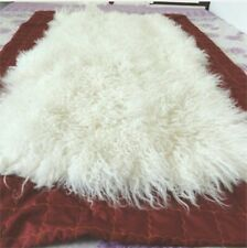 BEIGE REAL TIBETAN FUR MONGOLIAN LAMBSKIN SHEEPSKIN HIDE BED THROW BLANKET RUG