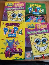 4 pc Kids Activity Books  - Jumbo Super Play Pad Spongebob Coloring Car Trip
