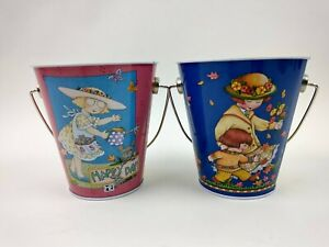 Lot of 2 Mary Engelbreit Tin Pail Leaves Autumn Fall Gardening Happy Day Unused