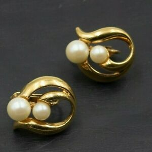 Vintage 1992 Avon Modern Classic Gold Toned Faux Pearl Clip On Earrings b18