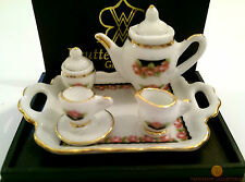 Reutter Black Rose Tea Set On Tray 1:12 Porcelain Dolls House Miniature