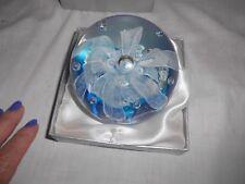 "Vintage? Round Flowing White Flower Murano Art Glass 4"" Paperweight Aqua in Box"
